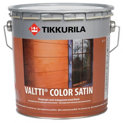 Tikkurila Валтти Колор Сатин - Valtti Color Satin фасадная полуматовая лазурь по дереву для наружных работ.