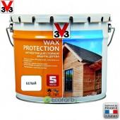 V33 (В33) Антисептик для стойкой защиты древесины Wax Protection 9,0 л Белый